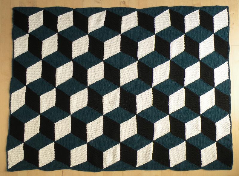 Skønt Hæklet Tæppe Af Romber Giver Et Fantastisk Flot 3d Mønster