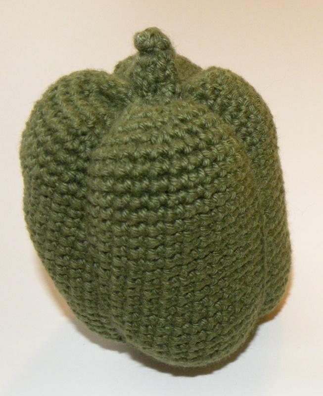 Hæklet frugt og grønt - Grøn peberfrugt