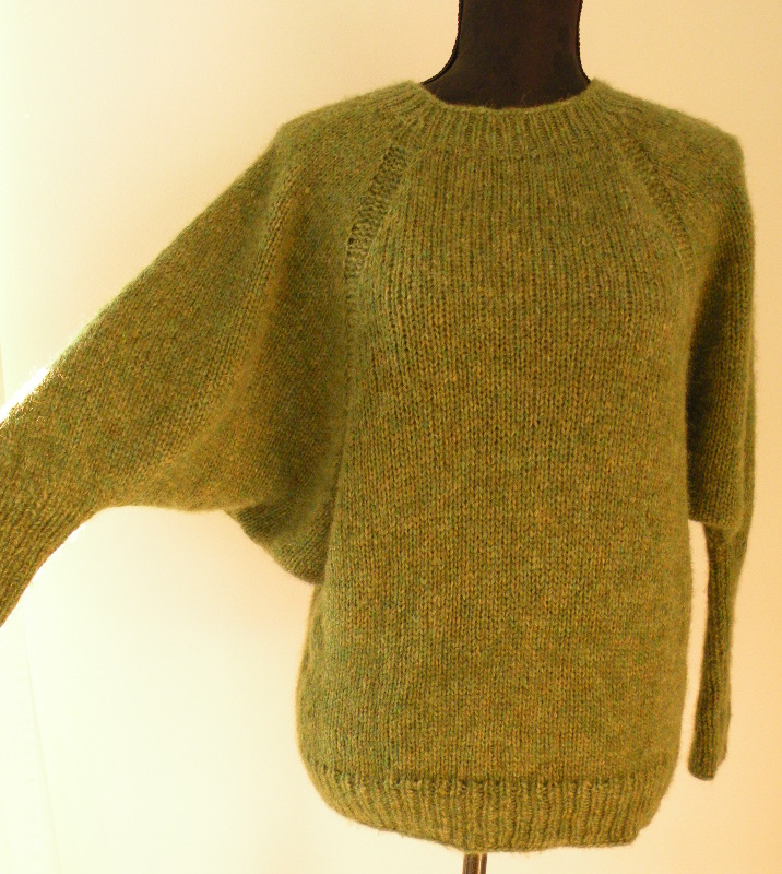 Grøn tyk bluse med flagermusærmer