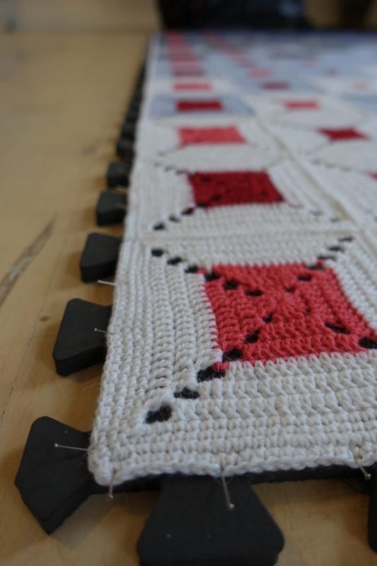 Evighedstæppet - Udspænding 1 - Hæklet tæppe