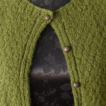 Olivengrøn cardigan med fint mønster 2