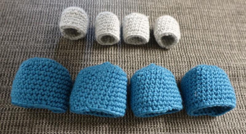 Hæklede sokker til stoleben